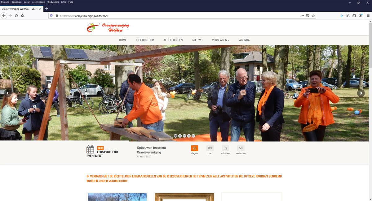 Nieuwe site Oranjevereniging Wolfheze